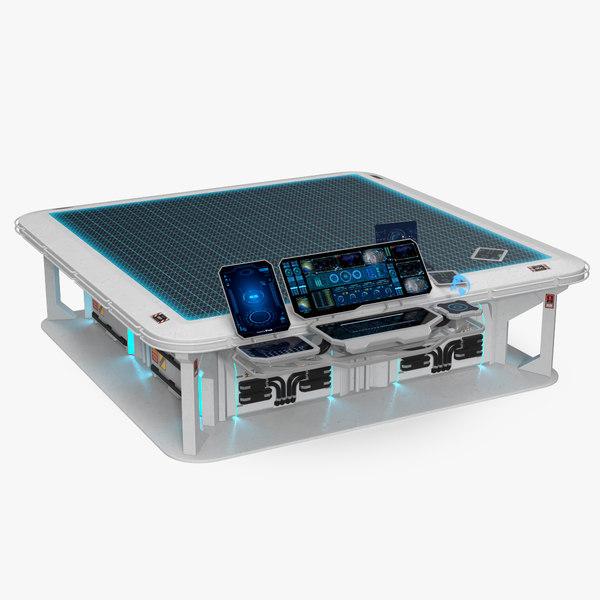 sci-fi hologram table control panel 3D