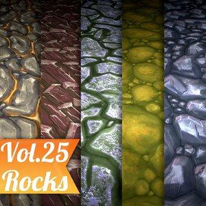 Texture Set Vol.25 Hand Painted Rocks (Stylized Rocks)