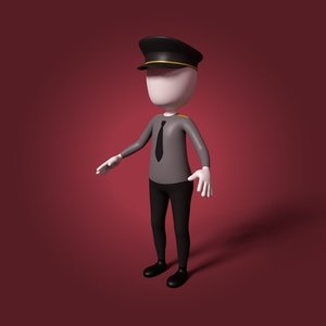 3D cartoon police officer model