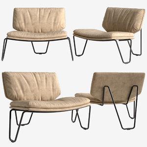 3D model armchair black widow henge