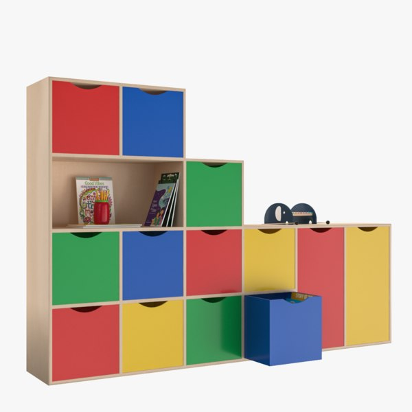 furniture cabinet shelfs kids 3D