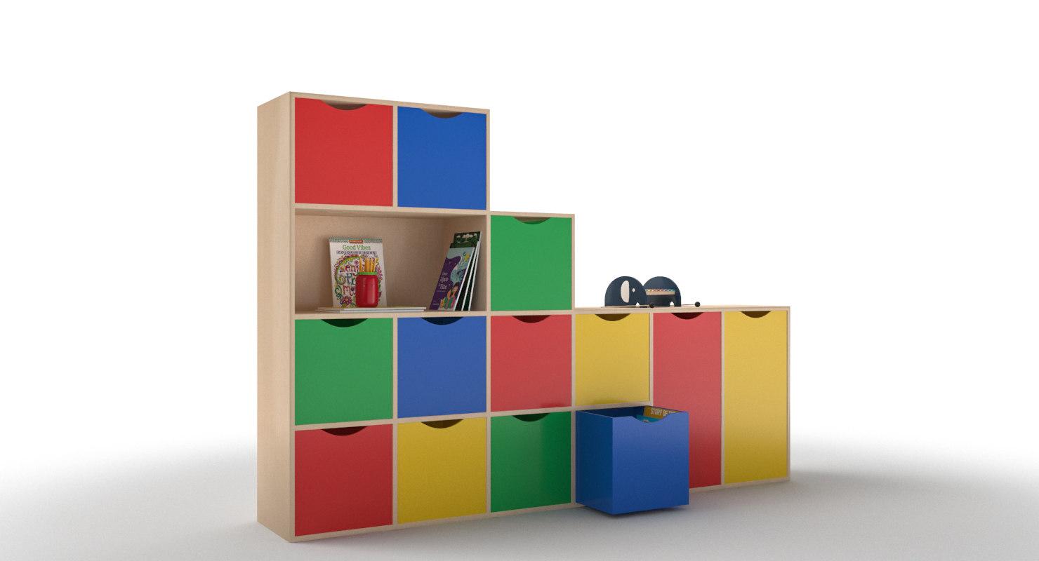 furniture cabinet shelfs kids 3D