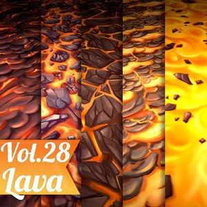 Texture Set Vol.28 Hand Painted Rock (Stylized Texture Lava)