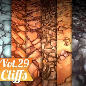 Texture Set Vol.29 Hand Painted Cliffs (Stylized Texture Cliffs )