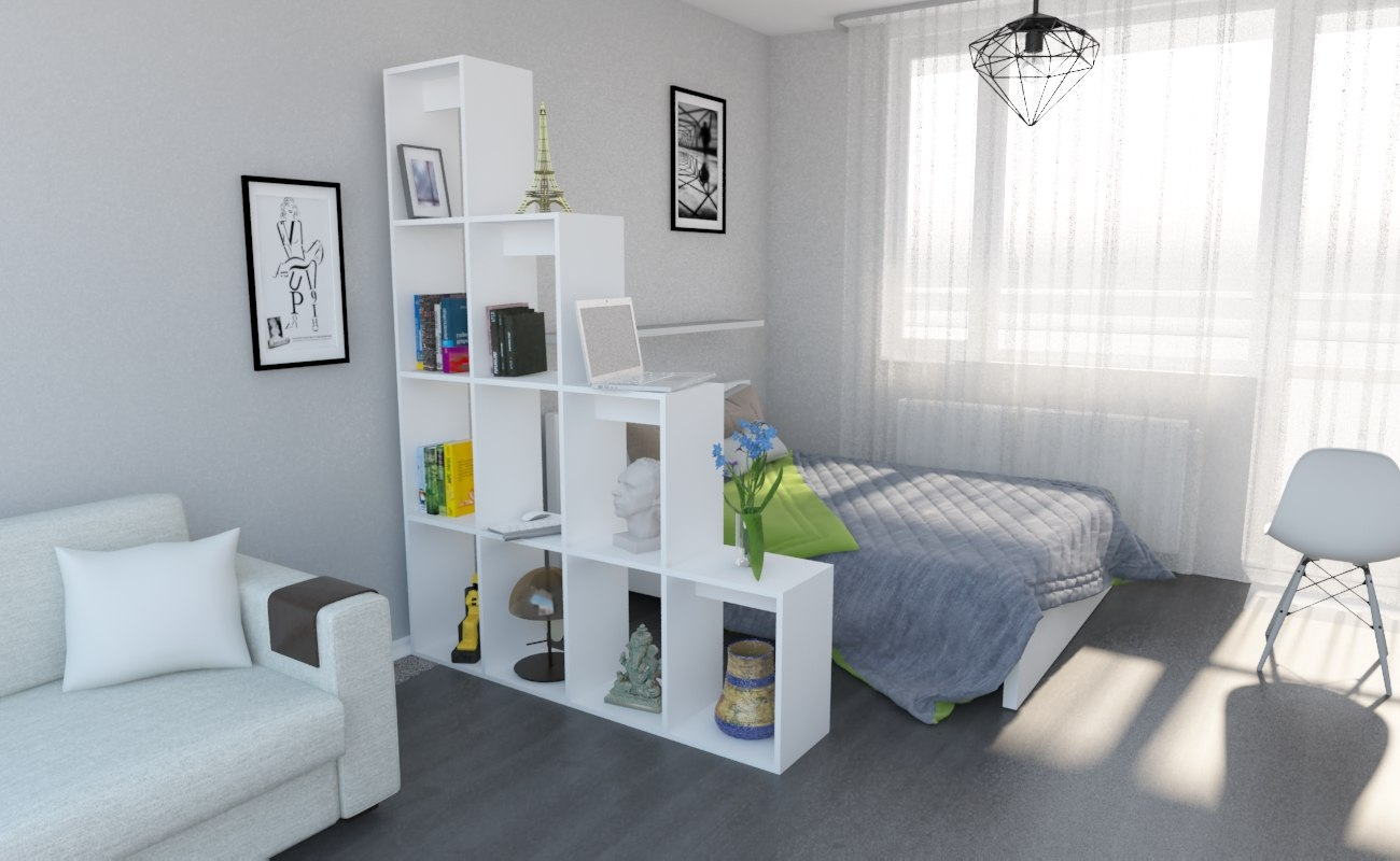 partition room bed 3D