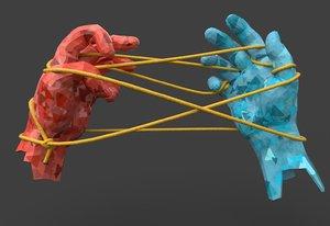 hands tied rope 3D