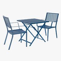 blue bistro style patio 3D model