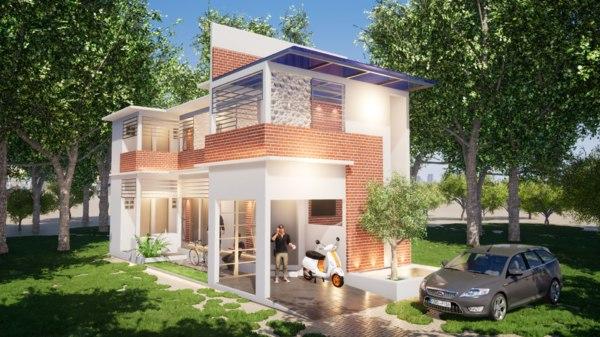 boarding house 6x15 meters 3D model