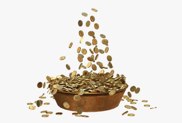 3D treasure gold coins trough