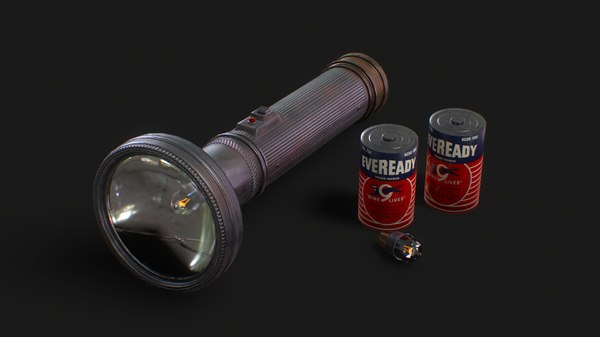 3D vintage police flashlight batteries model