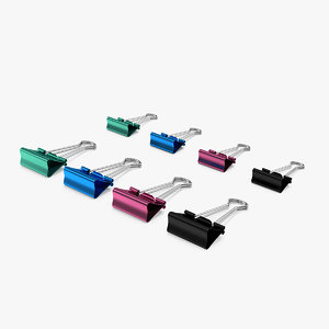 3D colored binder clips