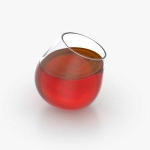 3D alcohol glass liquid model