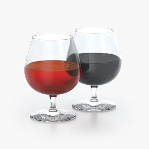 alcohol glass liquid 3D