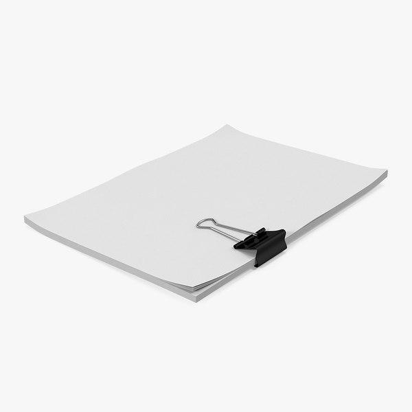 3D binder a4 sheets model