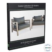 3D model wooden furniture costes deck wood