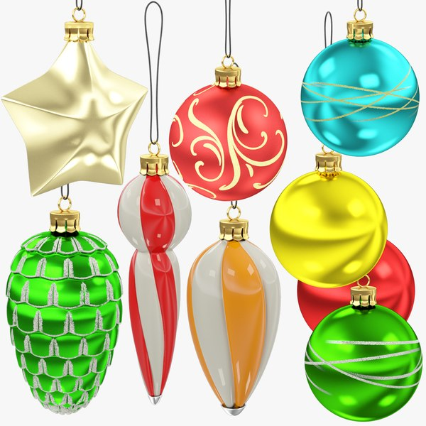 3D christmas tree decorations v3 model