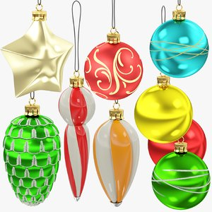 3D christmas tree decorations v3 model