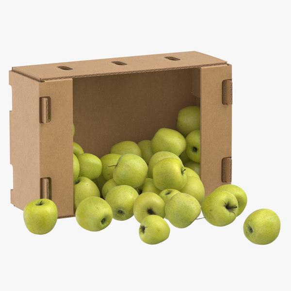 3D cardboard box 01 golden model