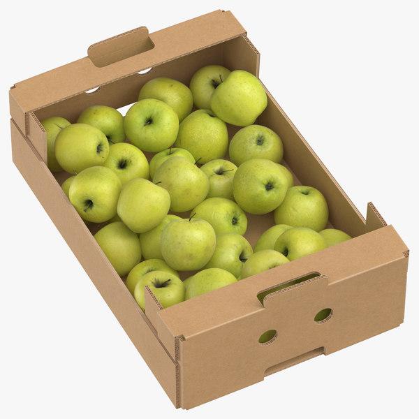 3D cardboard box 02 golden model