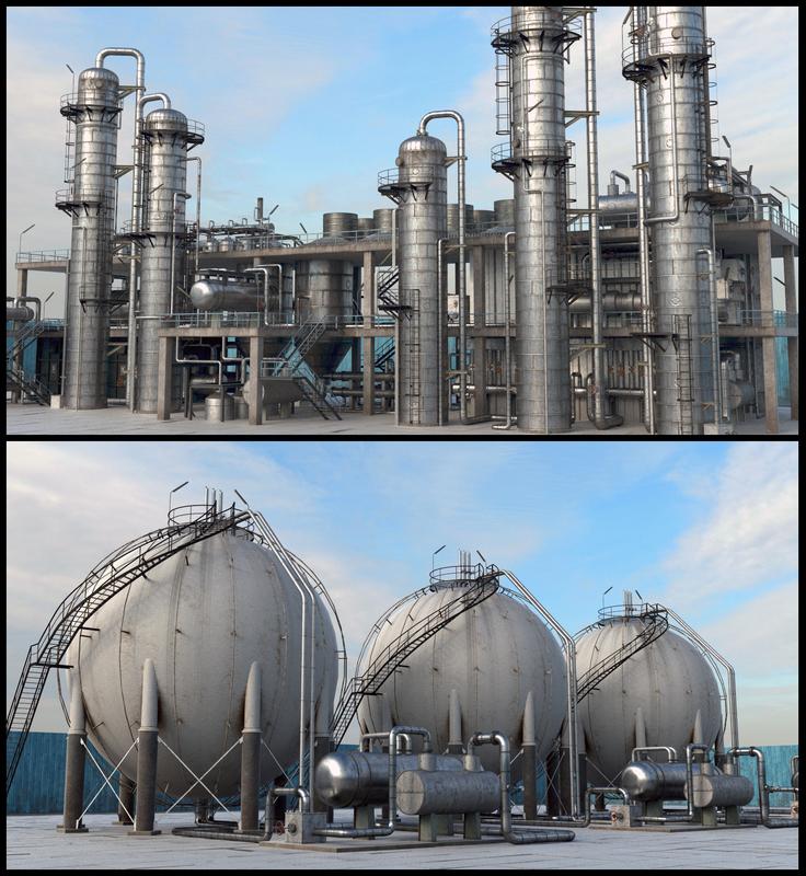 pbr refinery unit hd 3D model