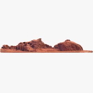 3D model sandstone butte 16
