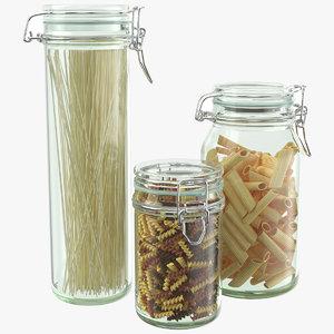 3D model kitchen pasta jars