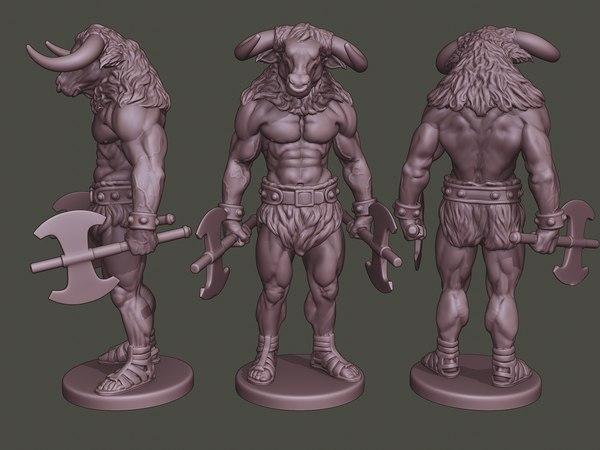 minotaur warrior stand3 axes 3D model