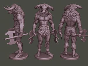 minotaur warrior stand3 axes 3D model