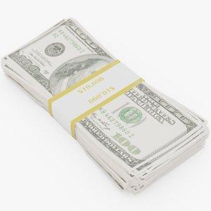 3D 100 dollar bill model