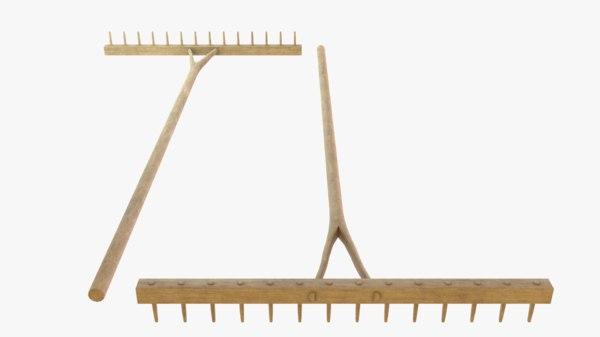 wooden rake 3D model