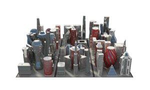 3D modern future building set
