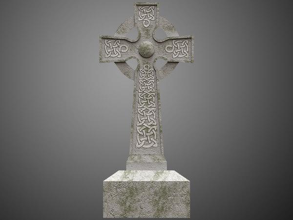 3D celtic tombstone 01 model