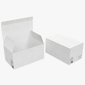 3D cardboard boxes white 02