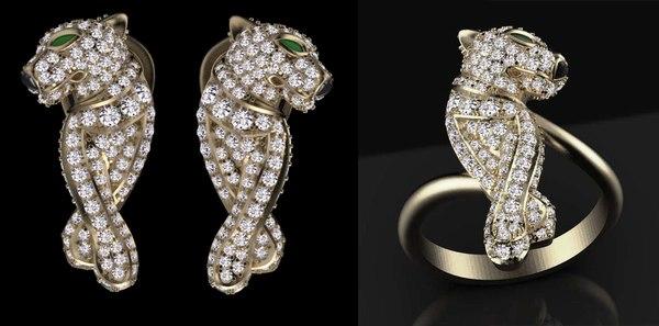 3D model earrings ring