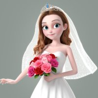 3D cartoon bride rigged character
