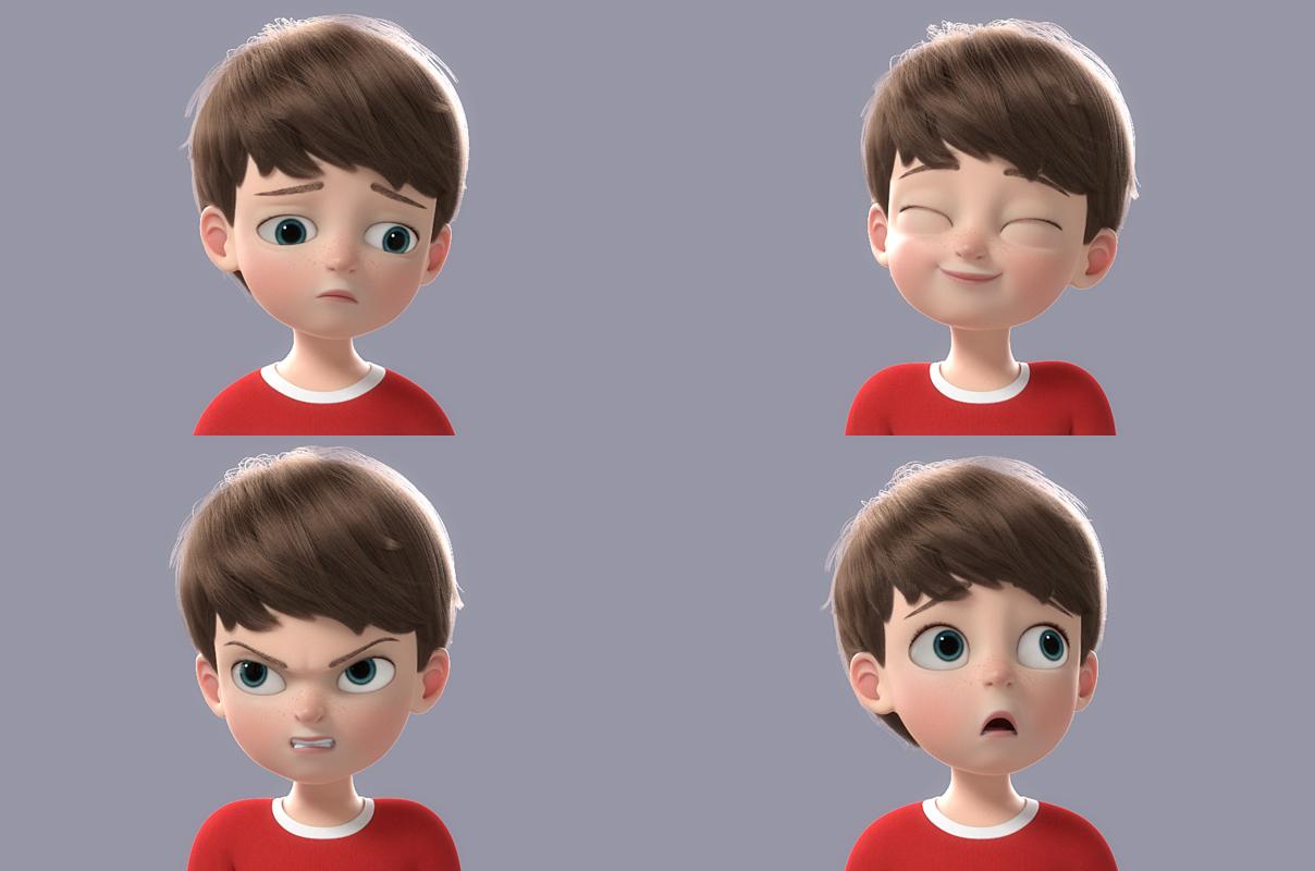3D cartoon boy rigged character turbosquid