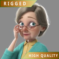 3D cartoon old woman rigged character