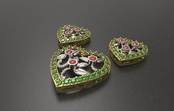 3D pendant gold silver
