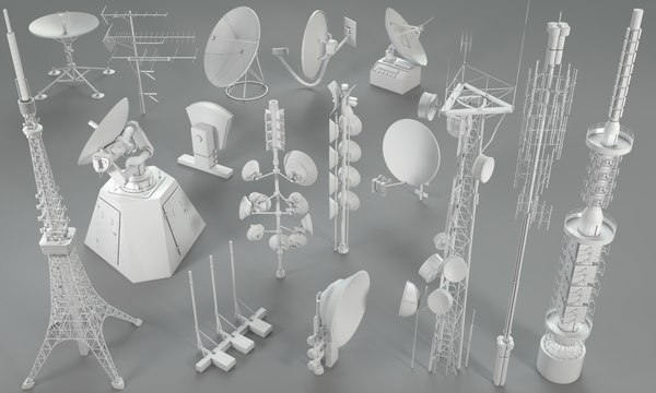 3D model 16 pieces antennas