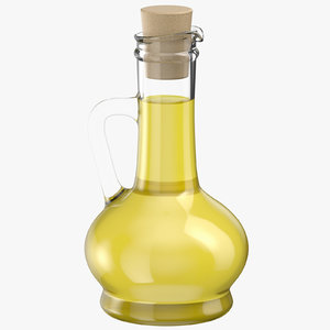 3D olive oil short bottle