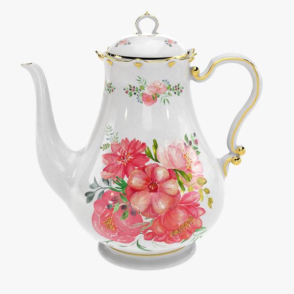 porcelain teapot painted 3D model