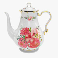 porcelain teapot painted 3D model