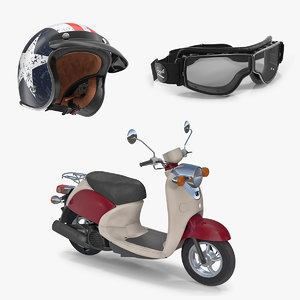 classic scooter motorcycle equipment 3D