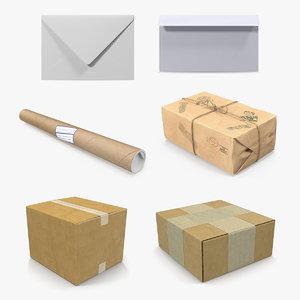 3D mail packages envelopes packings model