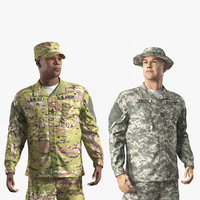 3D model army soldiers rigged