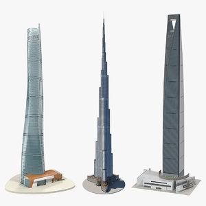 skyscrapers shanghai tower 3D