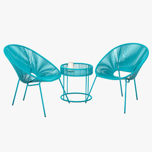 3D modern rattan patio set model
