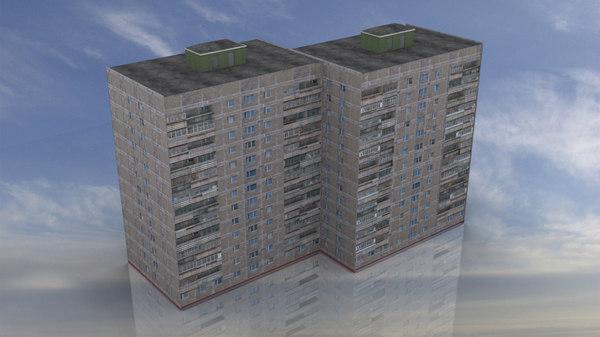 russian apartment 14 storey 3D