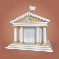cartoon library 3D model