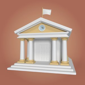 cartoon library 3D model